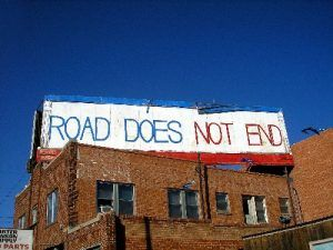 Route 66 does not end along 6th Street in Amarillo, Texas, Kathy Weiser, November, 2005.
