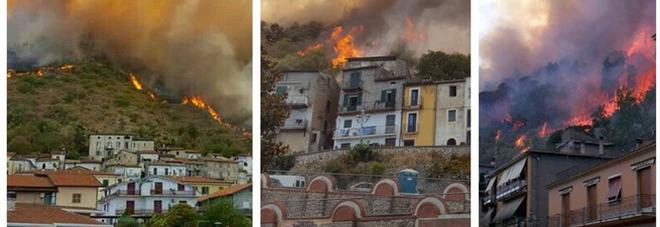 Inferno vicino Frosinone, incendio nel centro abitato: 40 famiglie evacuate