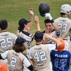 Cameron Cane of Hopewell, N.J., Post 339 is greeted by teammates after hitting a two-run home run against Lewiston, Idaho, Post 13 during game 11 of The American Legion World Series on Sunday, August 13, 2017 in Shelby, N.C.. Photo by Matt Roth/The American Legion.