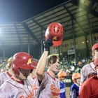 Jordan Patty of Midland Mich., Post 165 celebrates with his teammates after hitting the first home run of the world series in game 5 of The American Legion World Series on Friday, August 11, 2017 in Shelby, N.C.. Photo by Matt Roth/The American Legion.