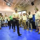 Kentucky Nationalist Jameson Bizzle dances following the election of Boys Nation president and vice-president on Tuesday, July 25, 2017. Photo by Clay Lomneth / The American Legion.