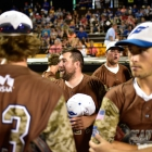 Members of the Omaha, Neb., Post 1 team have a meeting in between innings against Shrewsbury, Mass., Post 397 during game 9 of The American Legion World Series on Saturday, August 12, 2017 in Shelby, N.C.. Photo by Matt Roth/The American Legion.