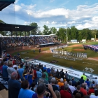 A garrison flag is unfurled during the national anthem before Henderson, Nev., Post 40 face off against Omaha, Neb., Post 1 for the championship game of The American Legion World Series on Tuesday, August 15, 2017 in Shelby, N.C.. Henderson, Nev., beat Omaha, Neb., 2-1 becoming the 2017 ALWS Champions. Photo by Lucas Carter/The American Legion.