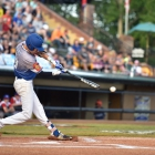 John Howard Bobo of Henderson, Nev., Post 40 starts the game off with a single against Omaha, Neb., Post 1 during the championship game of The American Legion World Series on Tuesday, August 15, 2017 in Shelby, N.C.. Henderson, Nev., beat Omaha, Neb., 2-1 becoming the 2017 ALWS Champions. Photo by Matt Roth/The American Legion.