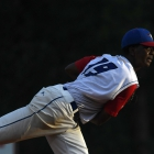 Starting pitcher Joshua Culliver of Omaha, Neb., Post 1 pitches against Henderson, Nev., Post 40 during the championship game of The American Legion World Series on Tuesday, August 15, 2017 in Shelby, N.C.. Henderson, Nev., beat Omaha, Neb., 2-1 becoming the 2017 ALWS Champions. Photo by Matt Roth/The American Legion.