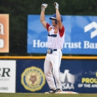 Nate Reiner of Omaha, Neb., Post 1 celebrates after hitting a double against Henderson, Nev., Post 40 during the championship game of The American Legion World Series on Tuesday, August 15, 2017 in Shelby, N.C.. Henderson, Nev., beat Omaha, Neb., 2-1 becoming the 2017 ALWS Champions. Photo by Matt Roth/The American Legion.