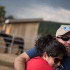 Jason March, recipient of an Operation Comfort Warriors grant to go horseriding, hugs Sonia Campa after finishing the ride, which took place during The American Legion's 99th annual National Convention in Truckee, Calif., on Saturday, August 19, 2017 Photo by Lucas Carter/The American Legion.