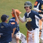 Shrewsbury, Mass., center fielder Adam Twitchell celebrates after scoring as Midland, Mich., falls to Shrewsbury, Mass. 3-2, in game 1 of The American Legion World Series on Thursday, August 10, 2017 in Shelby, N.C.. Photo by Matt Roth/The American Legion.