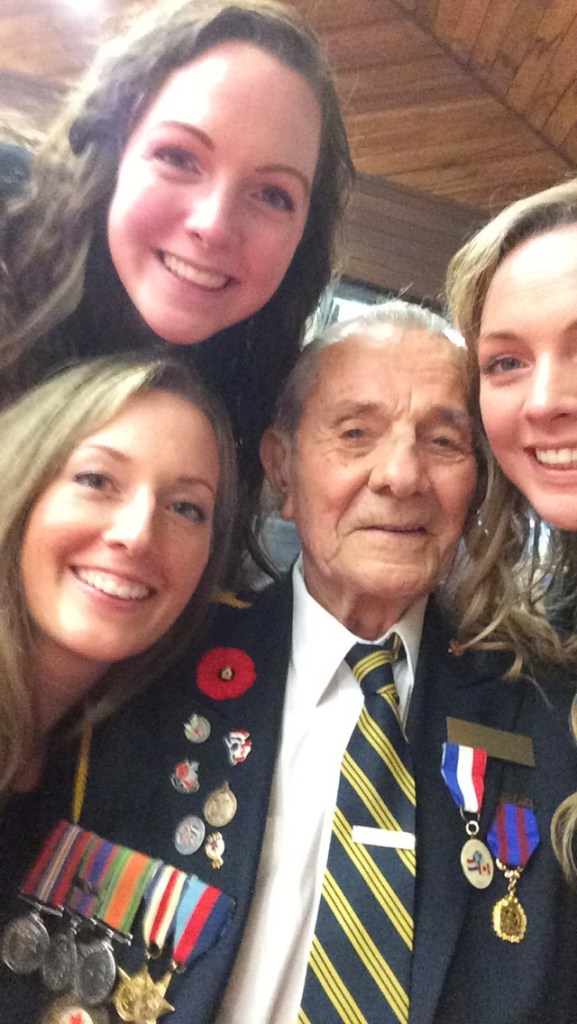 Veteran with family and greeters