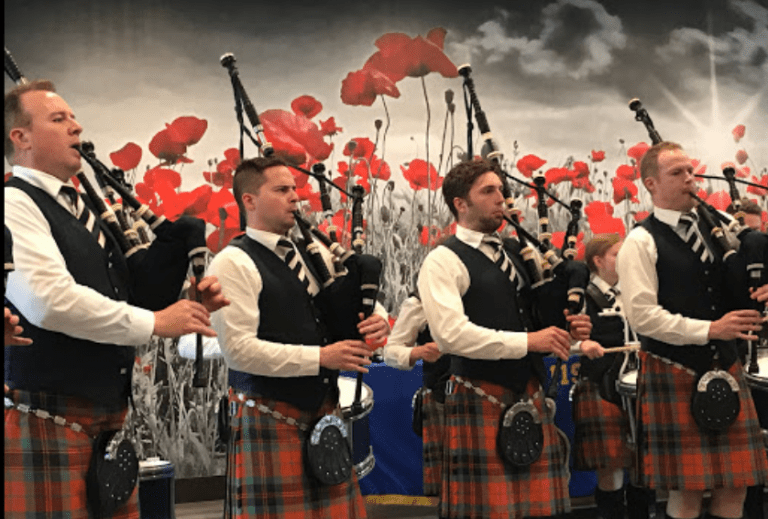 Pipers on Remembrance Day Novemeber 11, 2019 at Legion119