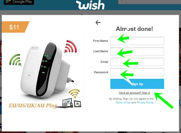 Sign Up For Wish Shopping Account For Wish Sign In   Wish.com Signin