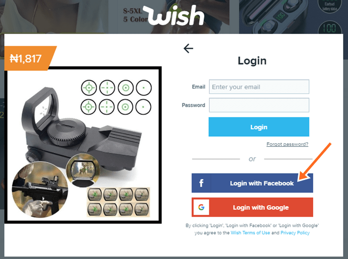 Wish Shopping Login With Facebook