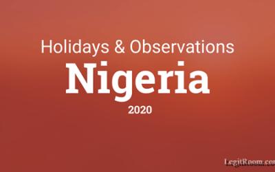 2020 Holidays List – Public Holidays & Observation Days In Nigeria