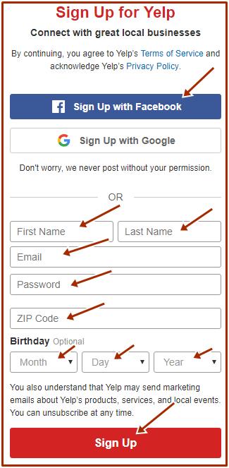 www.yelp.com Online Registration - Yelp Sign Up Portal