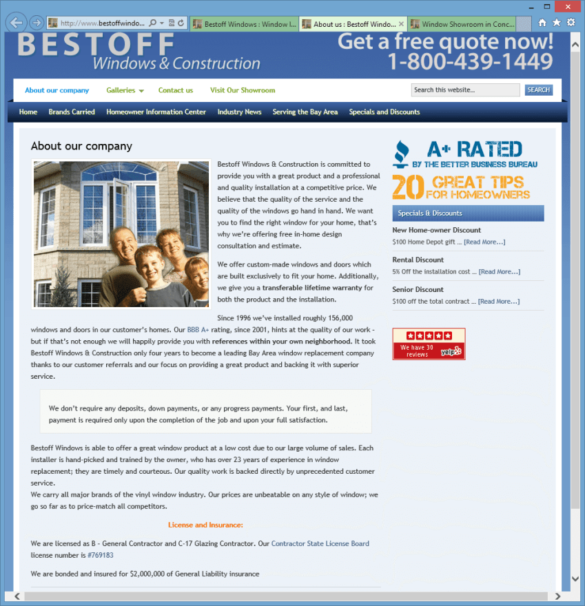 Bestoff Windows About Us Page