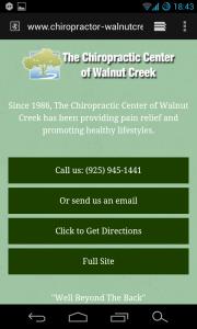 Mobile Website for Chiropractic Center of Walnut Creek