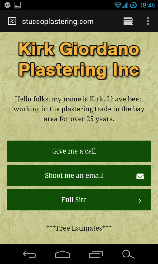 Mobile Website for Stucco Plastering