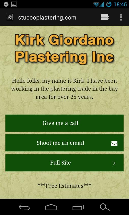 Mobile Website for Stucco Plastering