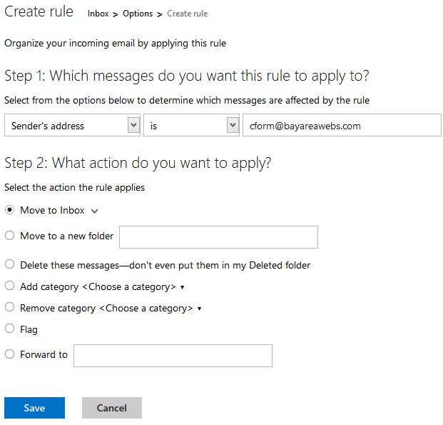 Outlook Custom Rule