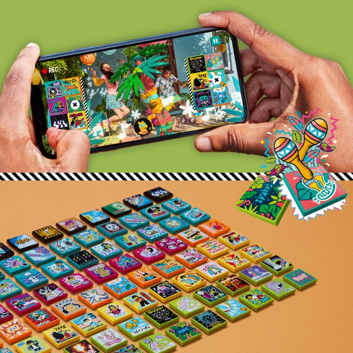 Split image with a phone displaying the LEGO VIDIYO app on top and a collection of beat bits on bottom