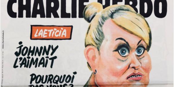 Laeticia Hallyday en mante religieuse en Une de Charlie Hebdo