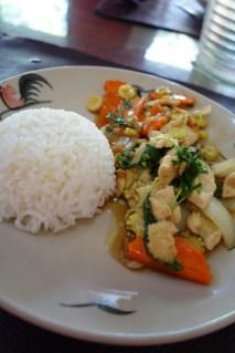 Hot basil stir fry