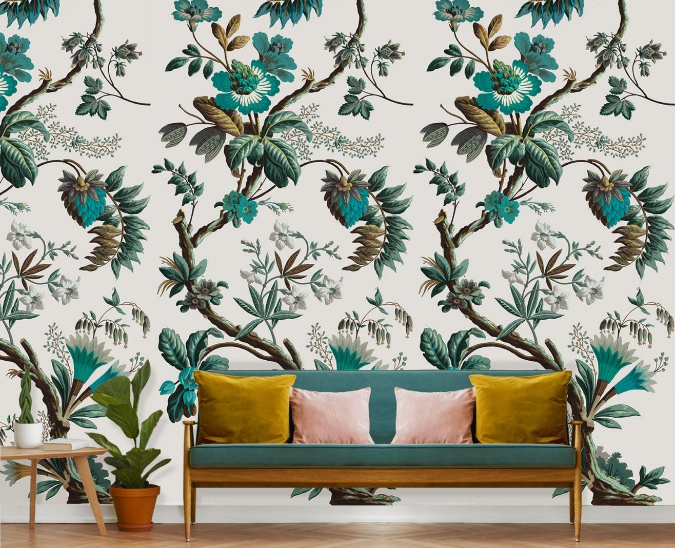 papier peint decor fleurs de fantaisie cyan 1799