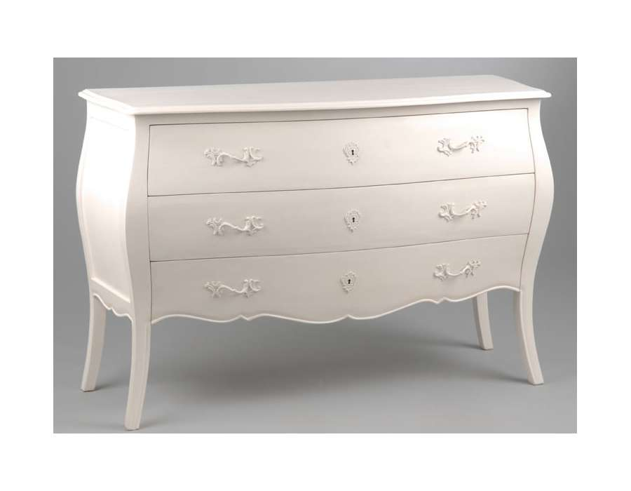 Grande Commode Blanche 3 Tiroirs Longue Creme
