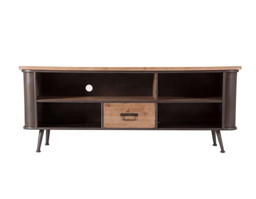 meuble tv vintage en bois et metal industriel