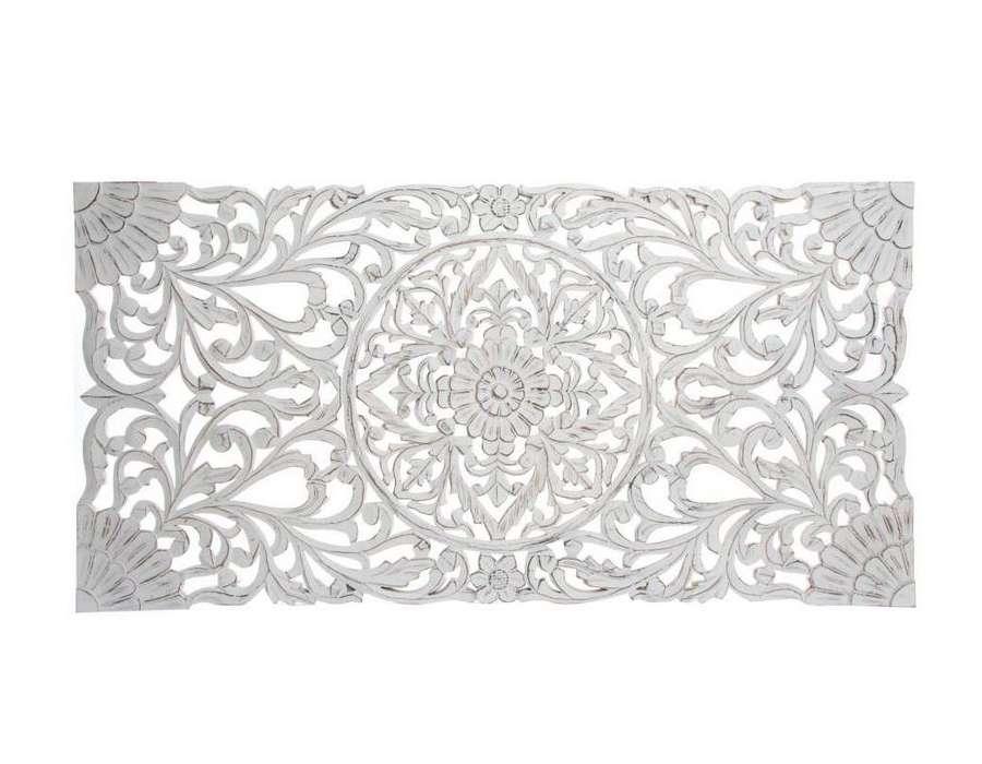 tete de lit bois sculptee 160 cm fleur patinee