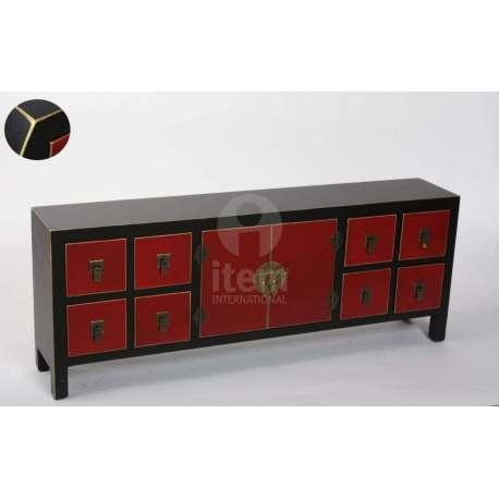 meuble bas japonais rouge et noir pas cher