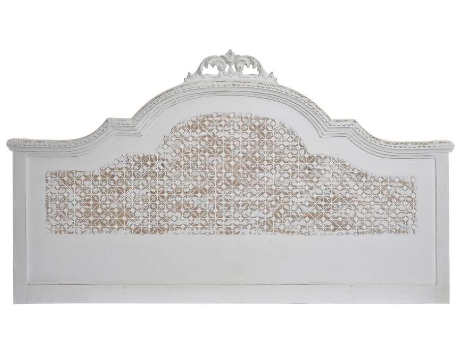 tete de lit baroque blanche patinee 160 cm