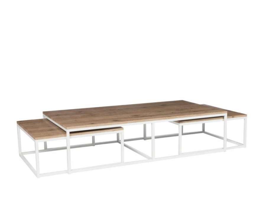 tables de salon gigognes metal blanc et bois jolipa