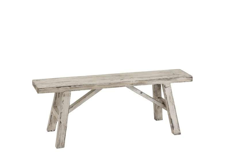 banc ibiza bois blanc patine