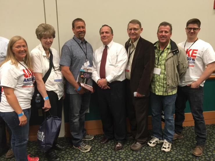 Several Lehi delegates at the Utah state convention today.