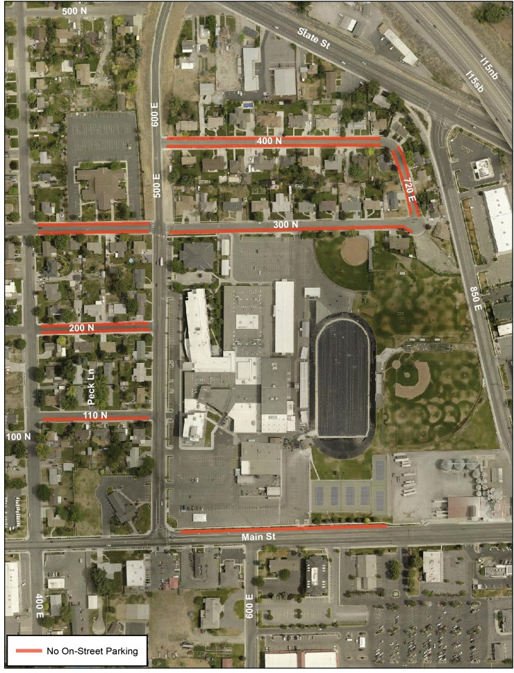 Area around high school that would be affected by city ordinance.