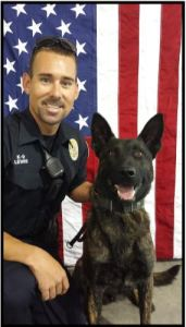K9 Onyx and Officer Levi Lewis. Photo courtesy of Lehi City Police Department
