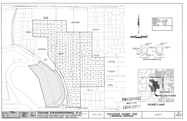 Proposed 100 lot Colledge Farms concept plan located at 2600 W. 1200 N. Courtesy of Lehi City