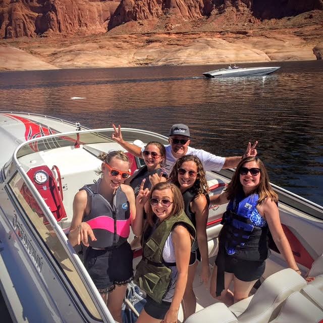 A fast boat in the Lake Powell Challenge, a fundraiser for the JDRF. Photo courtesy of the Taylor family