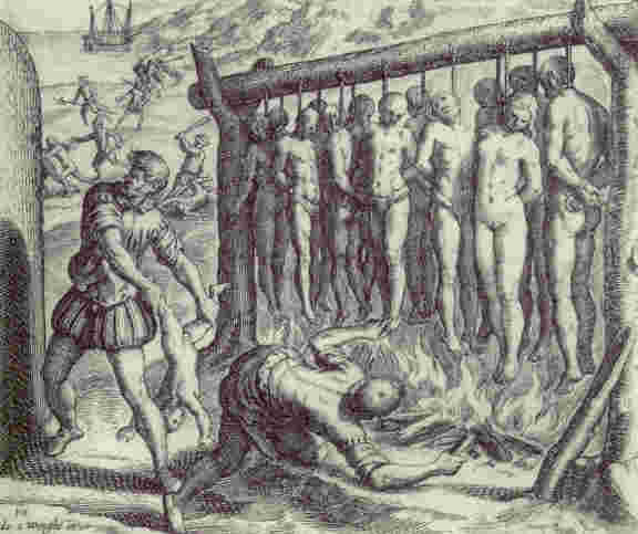 Spanish killing Indians, from book by De Las Casas