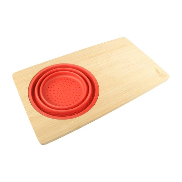 over the sink cutting board with colander