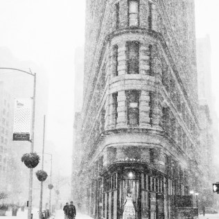 January 4th 2018: Pictures taken in a snowstorm by the Flatiron Building in New York City, USA. WWW.PHILPENMAN.COM Cellphone: 917 496 1644