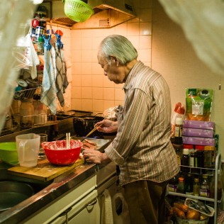 My father, 86 years old, always makes delicious food, 'tempura' the most for us, and plays with his grandchildren a lot also, Sagamihara, May 2017