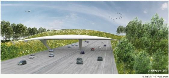 Die Leichtbau-Brücke könnte die Autobahn auf 45 m Breite überspannen – dabei aber mit 10% des Materials und 50% der Kosten auskommen. (Quelle: Structure)
