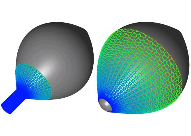 Aufziehen eines Textils auf einen Versuchskörper in Ausgangs- und Endzustand; simuliert mit TexMath. (Quelle: Fraunhofer ITWM)