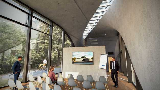 Die bionische Form und der großzügige Lichteinfall macht das Gebäude zu einem angenehmen Aufenthaltsort. (Quelle: Carbon Concrete Composite)