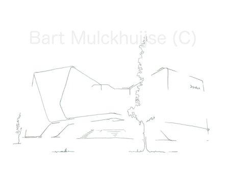 Tekening van het Mirai House op het Bio Science Park in Leiden