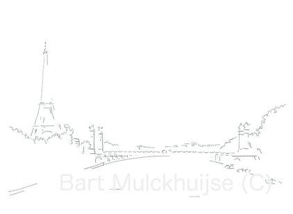 Tekening-Parijs-Eiffel-Seine