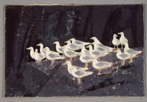 Gråmåger, Sisimiut, 1965-70-71, 62 x 92 cm