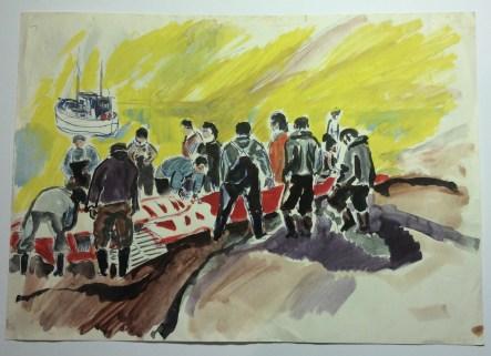 Hvalslagtning, Sisimiut 1965, akvarel
